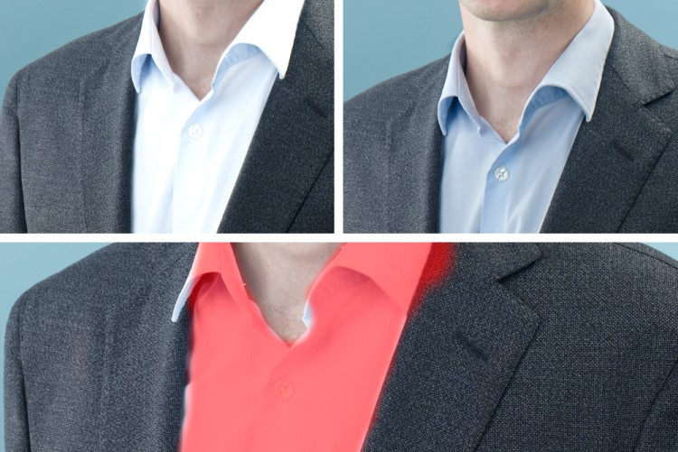 Helle Hemden können im Blitzlicht schnell überbelichten und müssen per Software millimetergenau ausmaskiert und abgedunkelt werden