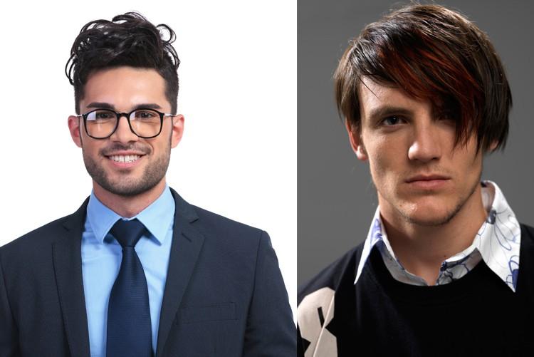 Zwei Beispiele von Frisuren, die für Bewerbungsfotos nur bedingt sind. Die Frisur muss