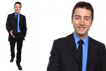 Versicherungsagent, Aussendienstmitarbeiter. Kravatte und Anzug ist Pflicht. Keine rote Kravatte wählen!